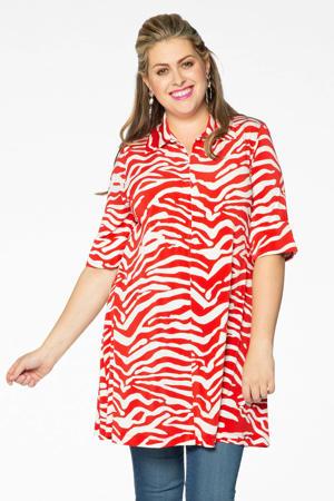 tuniek met zebraprint rood/wit