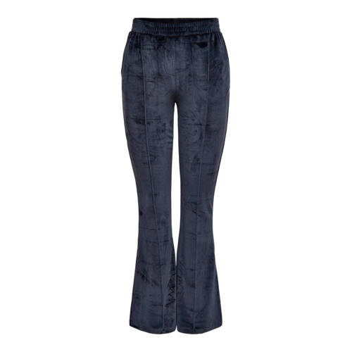 ONLY velours flared loungebroek Tammy donkerblauw