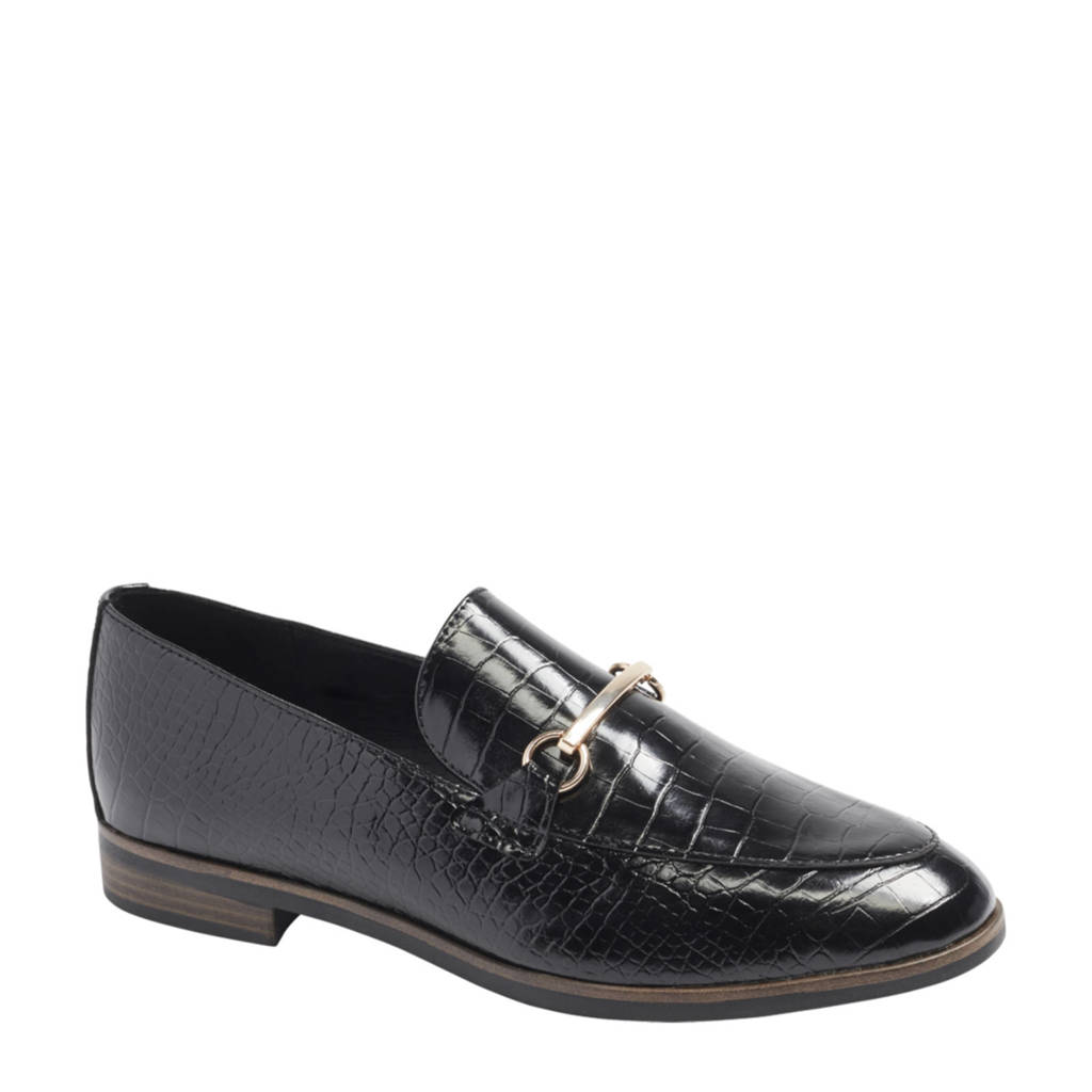 Graceland   loafers met crocoprint zwart, Zwart