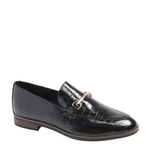 loafers met crocoprint zwart