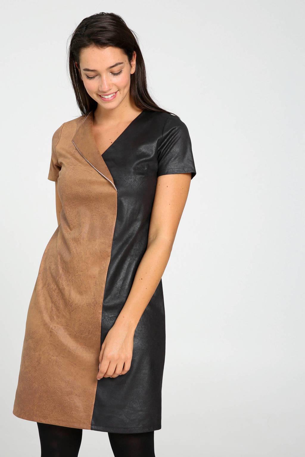 Cassis coated jurk zwart/bruin met omslagdetail, Zwart/bruin