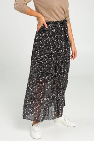 plissé rok met all over print en ceintuur zwart/bruin