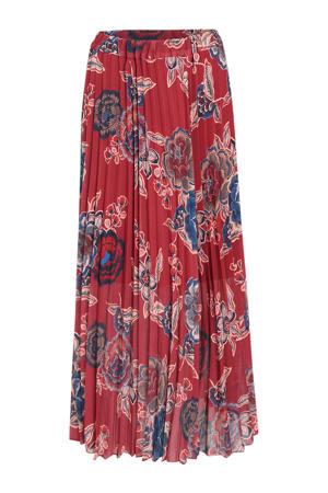 plissé rok met all over print rood/blauw