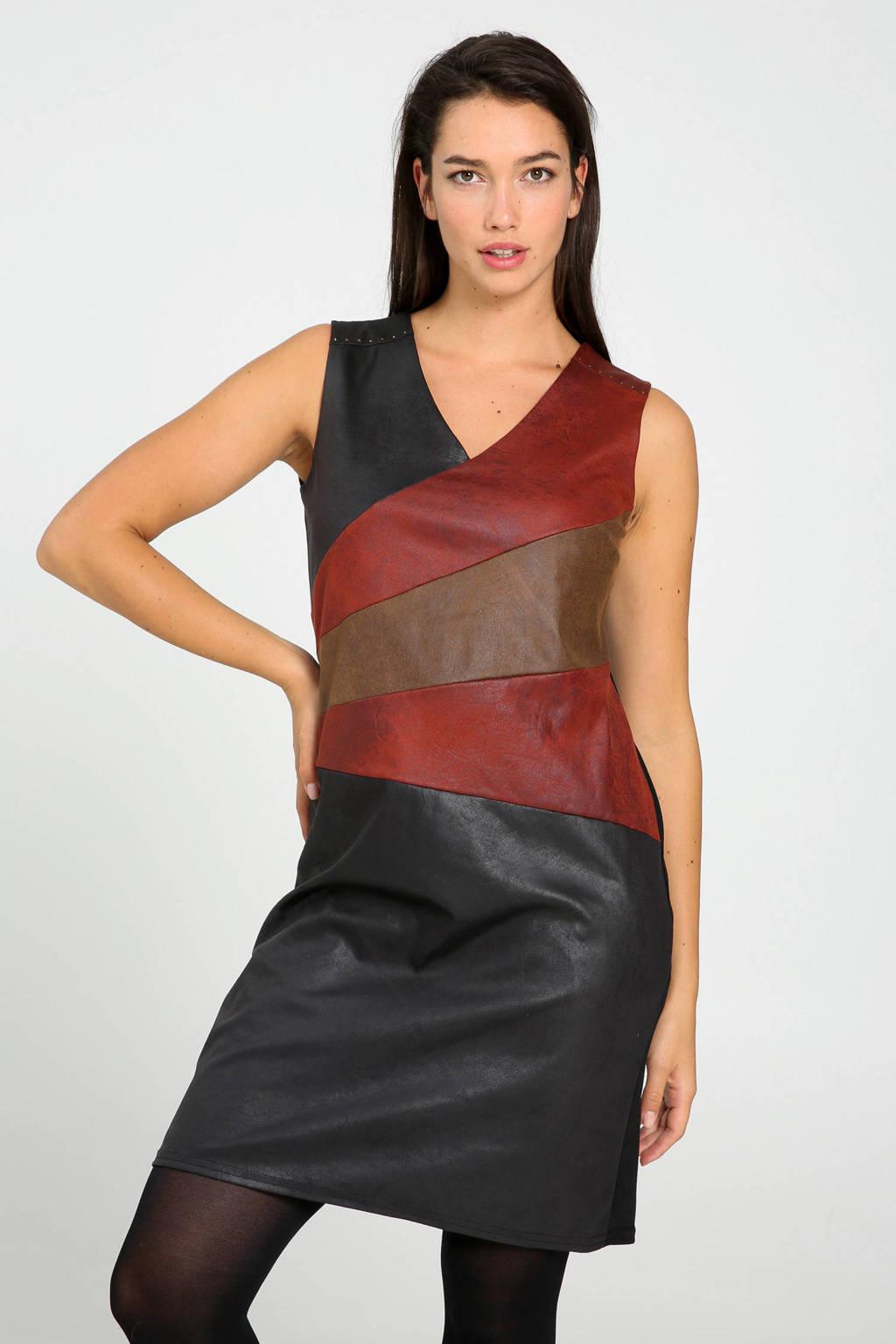 Cassis imitatieleren jurk met sierstenen zwart/rood/bruin, Zwart/rood/bruin