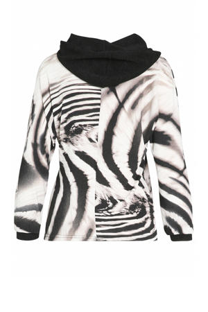 hoodie met zebraprint wit/zwart/bruin