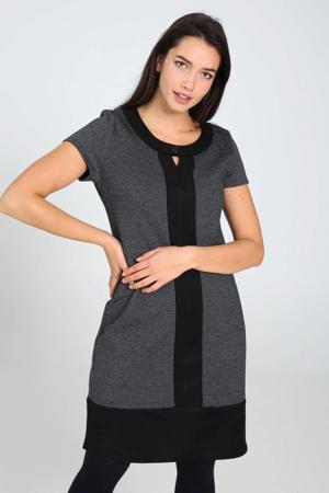 jurk met visgraat en open detail antraciet/zwart