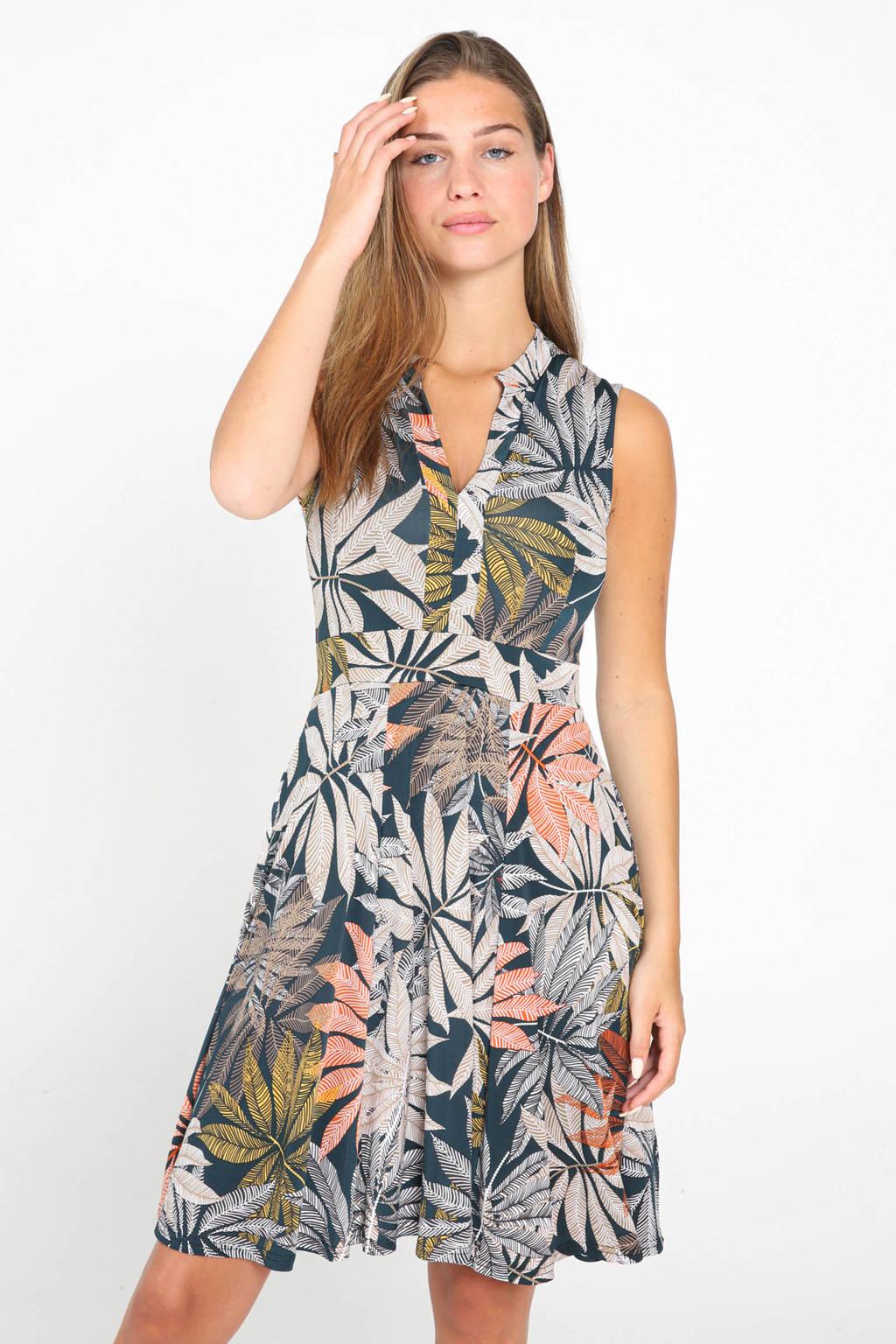 Cassis A-lijn jurk met bladprint en plooien groen/beige/oranje, Groen/beige/oranje
