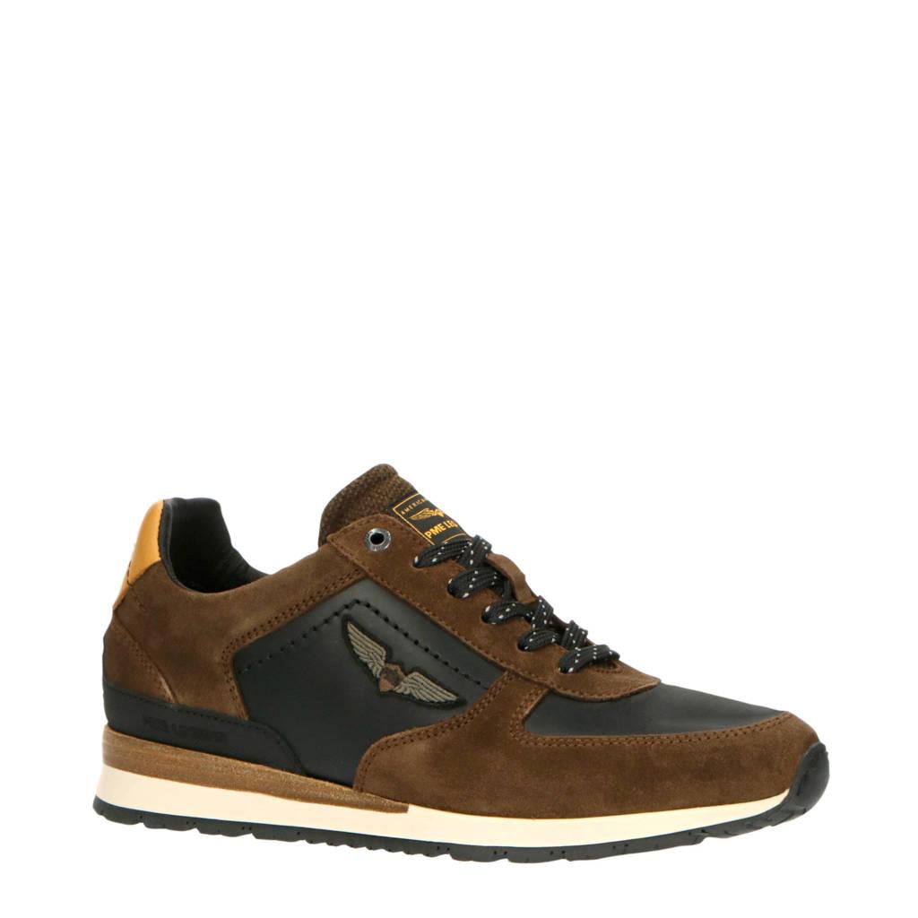 PME Legend Lockplate  suède sneakers bruin, Bruin/zwart