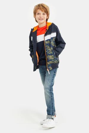 bomberjack zomer met camouflageprint en mesh donkerblauw/legergroen/oranje
