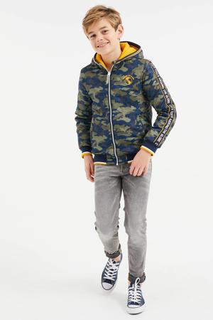 reversible gewatteerde zomerjas met camouflageprint legergroen/geel