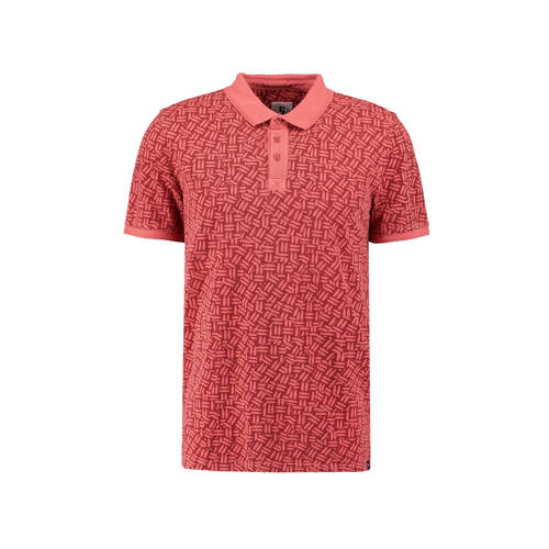 Garcia slim fit polo met all over print rozerood