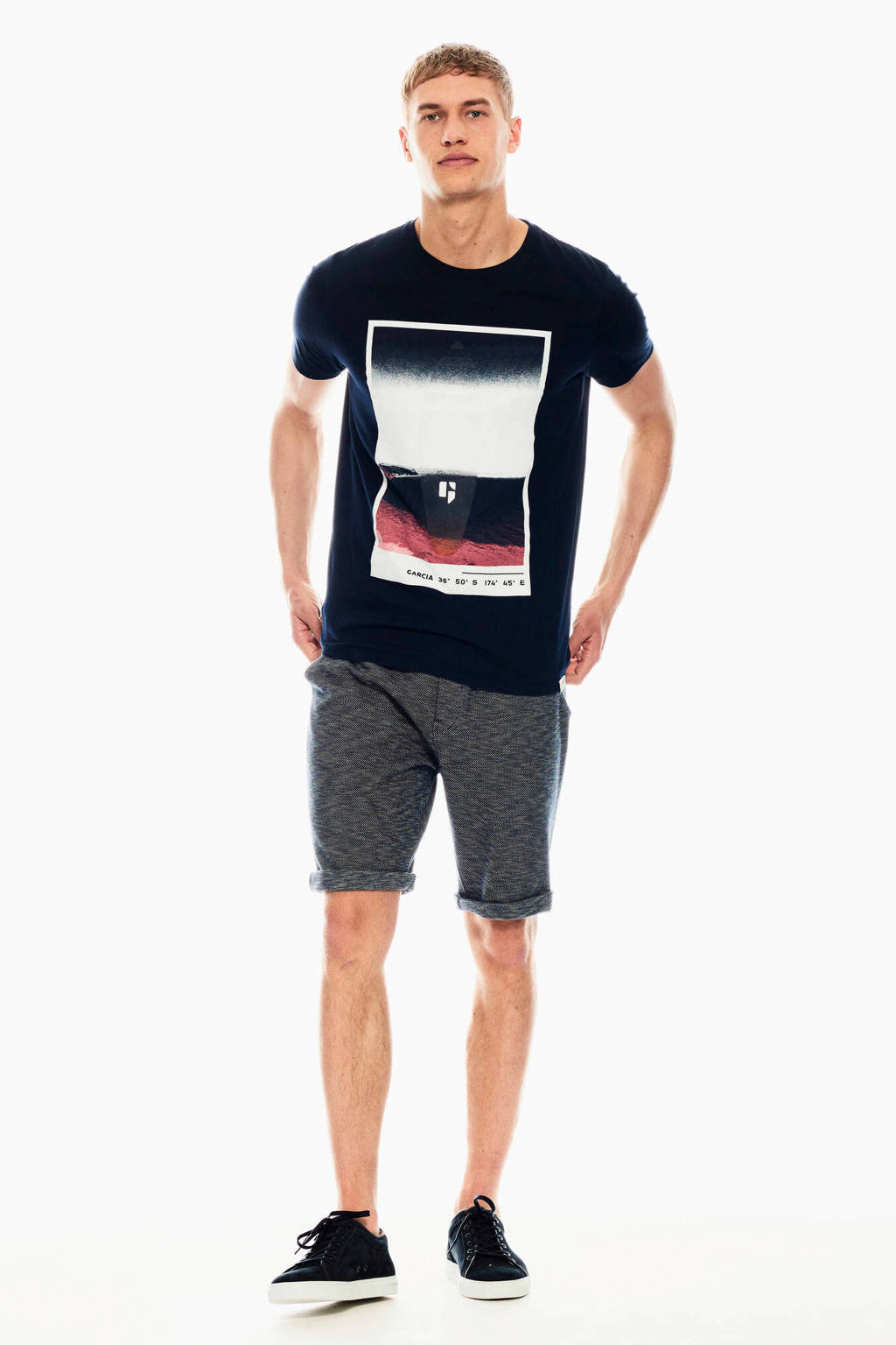 Garcia T-shirt met printopdruk donkerblauw, Donkerblauw