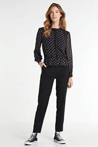 Pepe Jeans top Nora met all over print en plooien zwart/rood/wit, Zwart/rood/wit