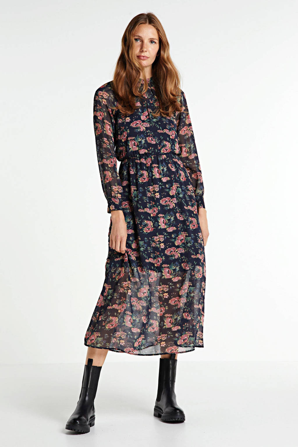 Pepe Jeans gebloemde semi-transparante maxi jurk Mariana donkerblauw/roze, Donkerblauw/roze