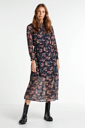 gebloemde semi-transparante maxi jurk Mariana donkerblauw/roze