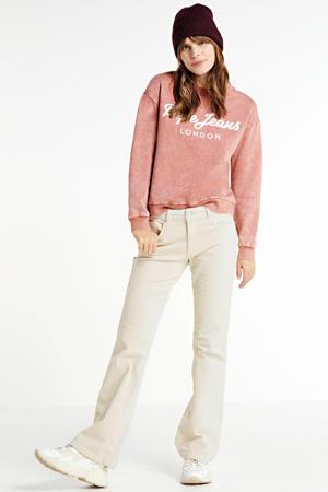 regular fit sweater Nora met logo oudroze