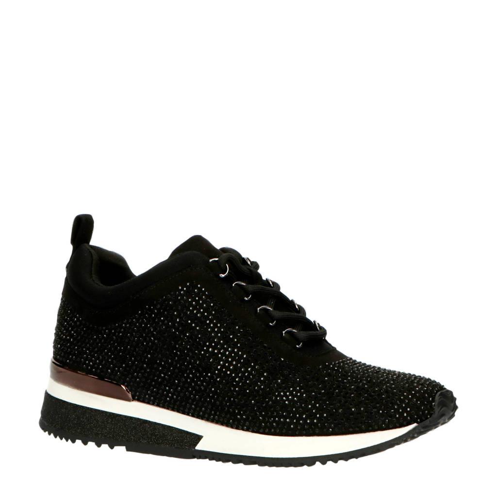 La Strada 1905751  sneakers met strass steentjes zwart, Zwart
