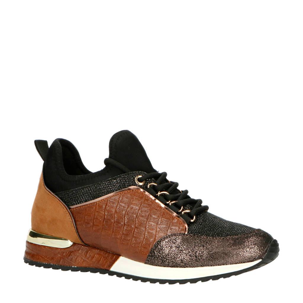La Strada 1900356  sneakers crocoprint zwart/cognac, Zwart/Cognac/Metallic