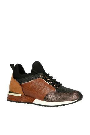 1900356  sneakers crocoprint zwart/cognac