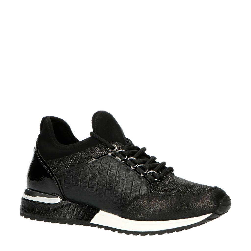 La Strada 1900356  sneakers crocoprint zwart, Zwart