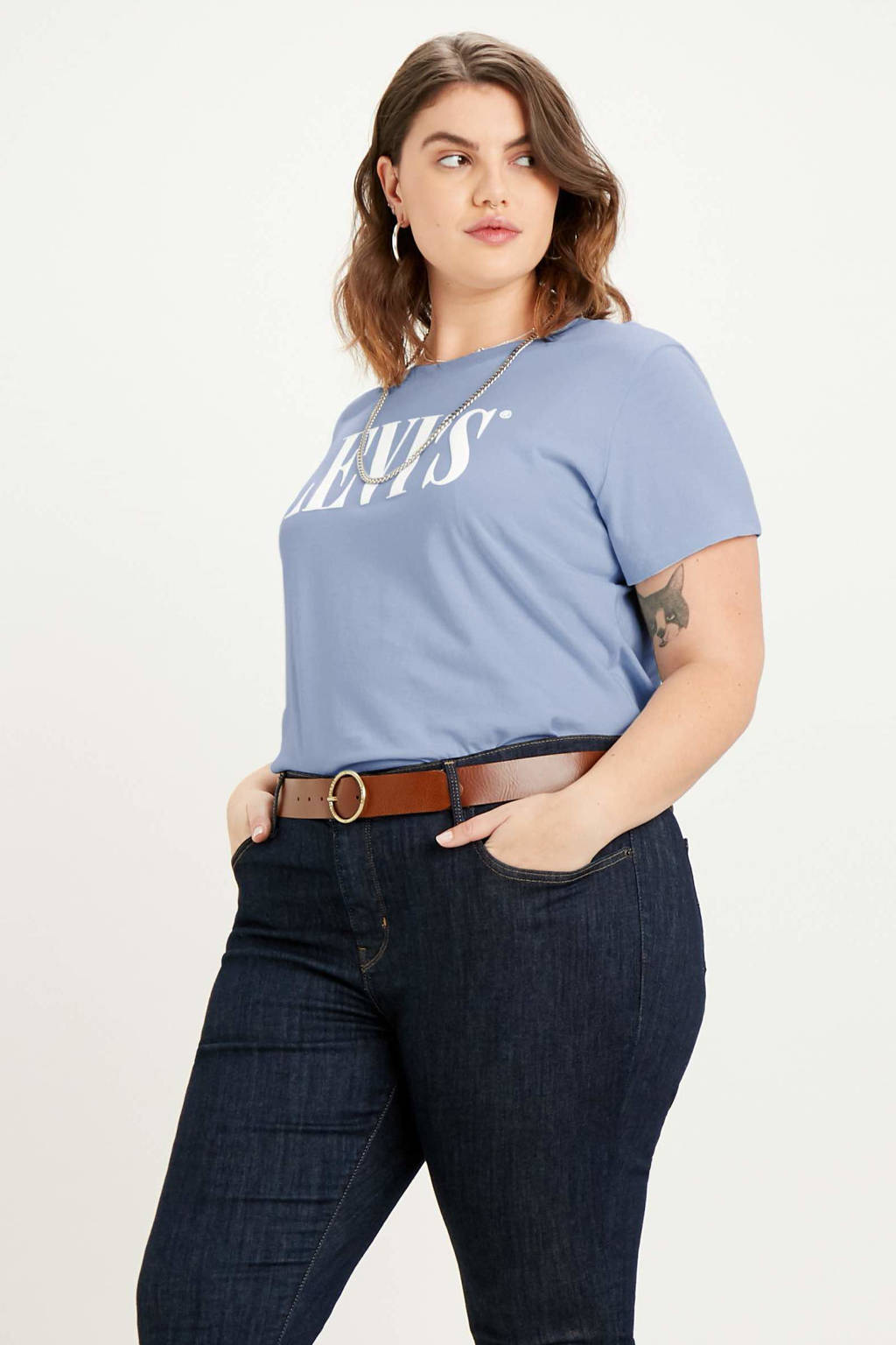Levi's Plus T-shirt met logo blauw, Blauw