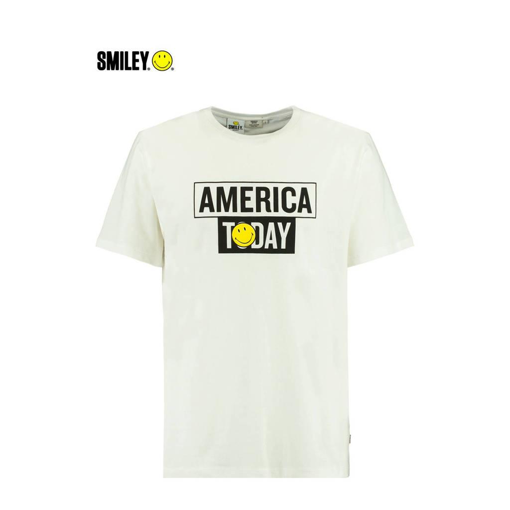 America Today T-shirt met logo ecru, Ecru