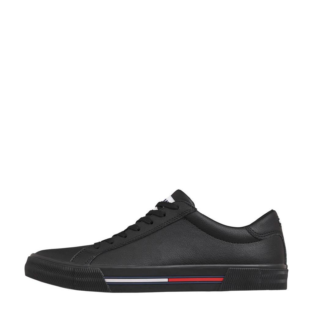 Tommy Hilfiger   leren sneakers zwart, Zwart