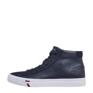 hoge leren sneakers donkerblauw