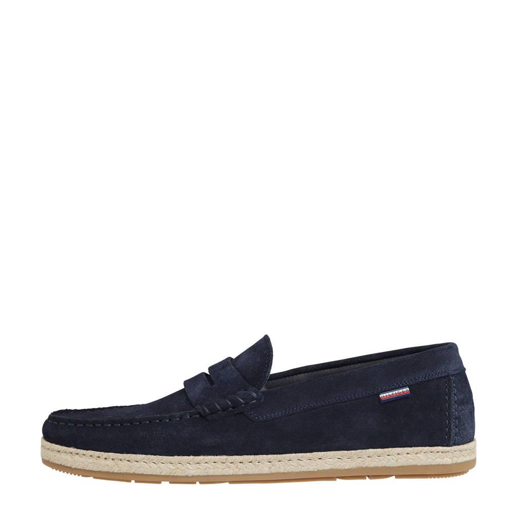 Tommy Hilfiger Casual Suède Espadrille Driver  mocassins donkerblauw, Donkerblauw