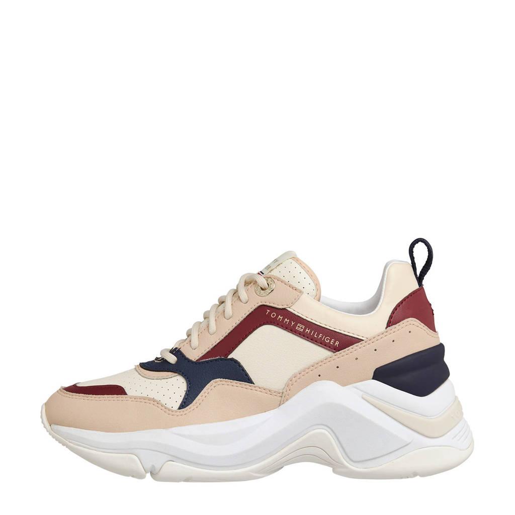 Tommy Hilfiger Feminine Internal Wedge  leren sneakers beige, Beige/multi
