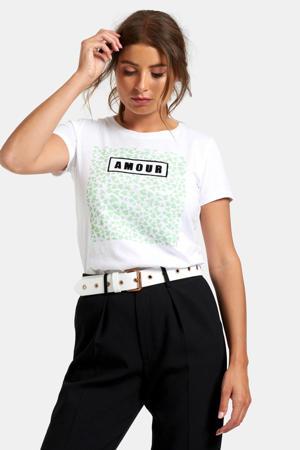 T-shirt Mikky met printopdruk wit/groen/zwart