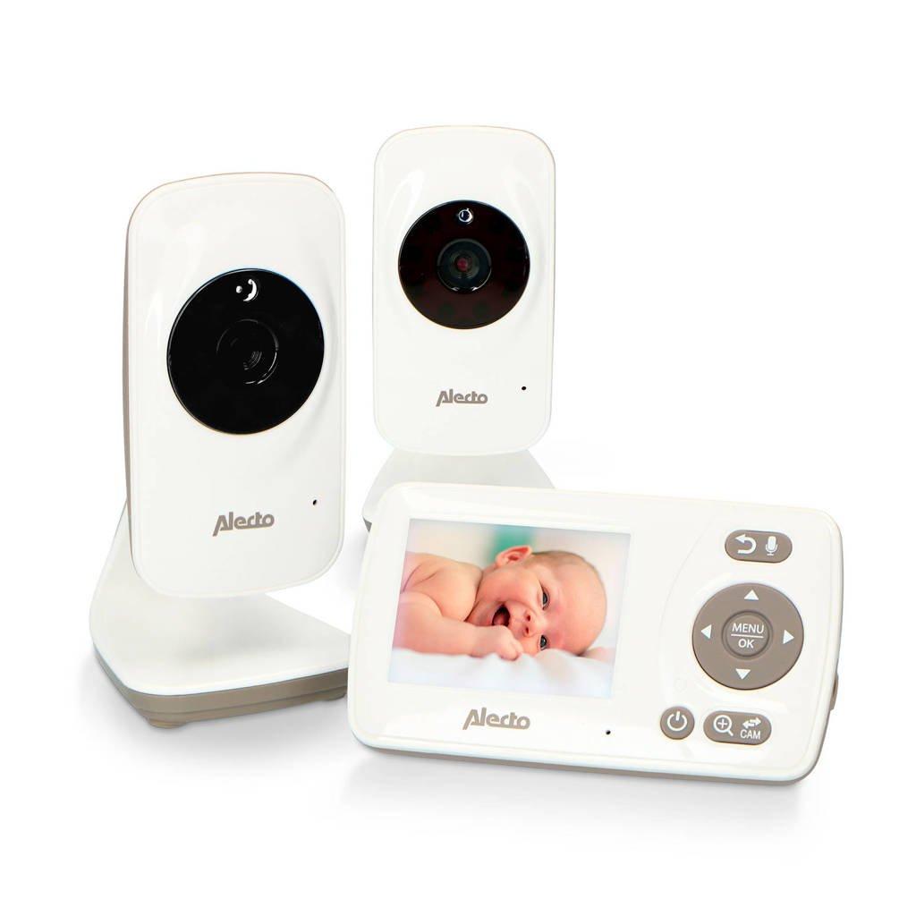 "Alecto DVM-71+DVM-71C babyfoon met 2 camera's en 2.4"" kleurenscherm, wit/taupe, Wit"