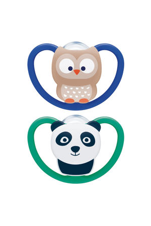 Space Siliconen fopspeen maat 3 (2 stuks) Uil & Panda