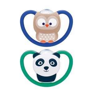Space Siliconen fopspeen maat 2 ( 2 stuks) Uil & Panda
