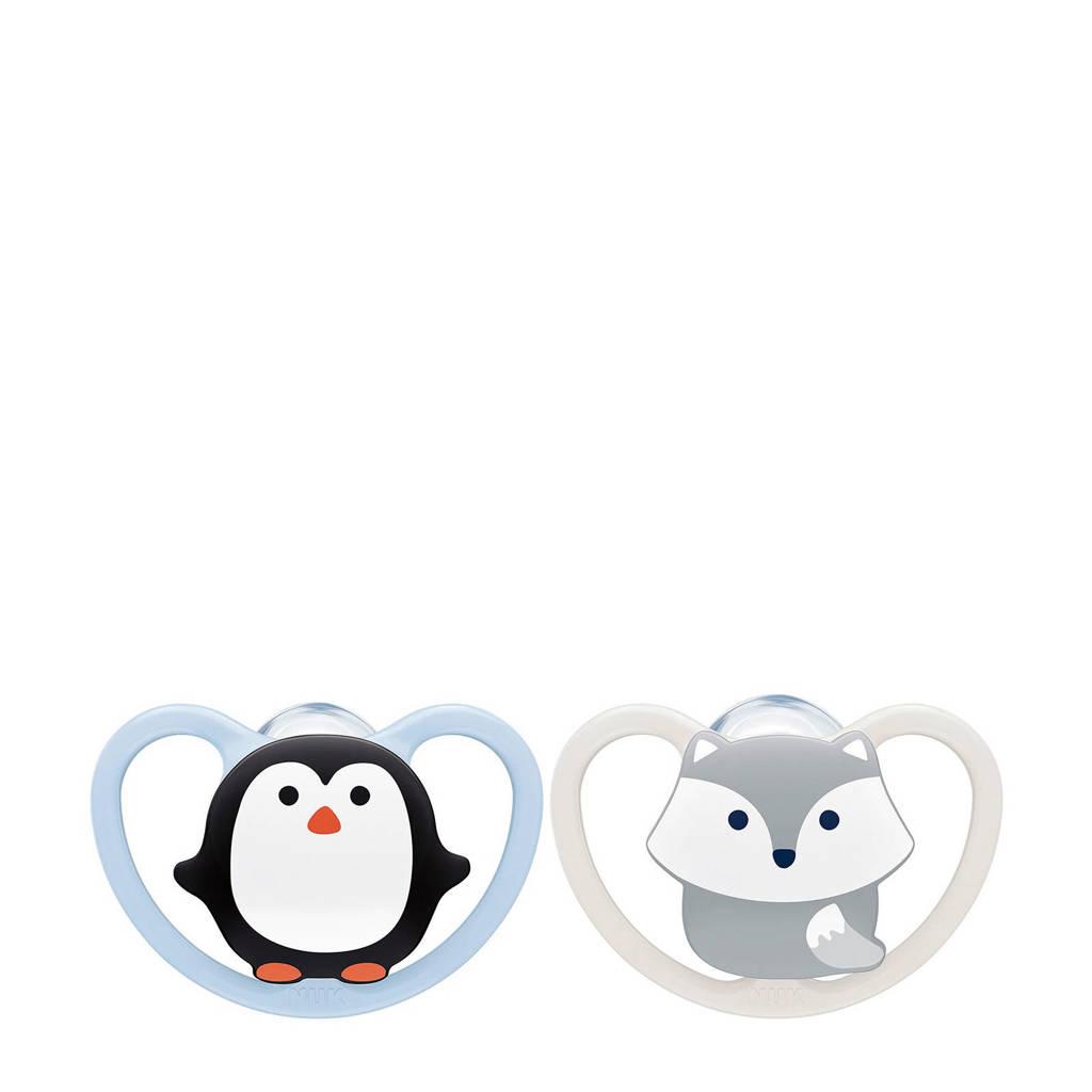NUK Space Siliconen fopspeen maat 1 (2 stuks) Koala & Tijger, 0-6 maand