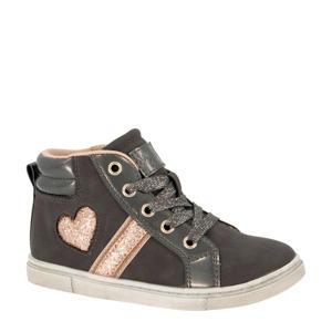 hoge sneakers grijs/roze
