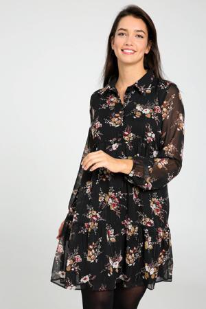 gebloemde semi-transparante blousejurk zwart/rood/beige