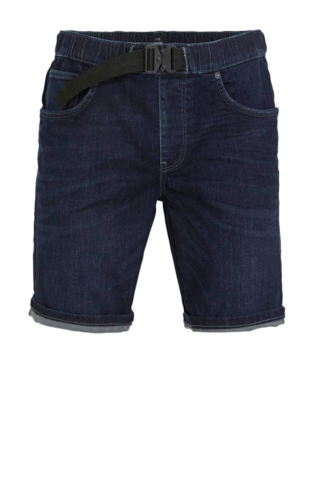 C&A The Denim regular fit jeans short donkerblauw, Donkerblauw