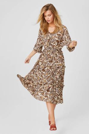jurk met all over print beige/bruin