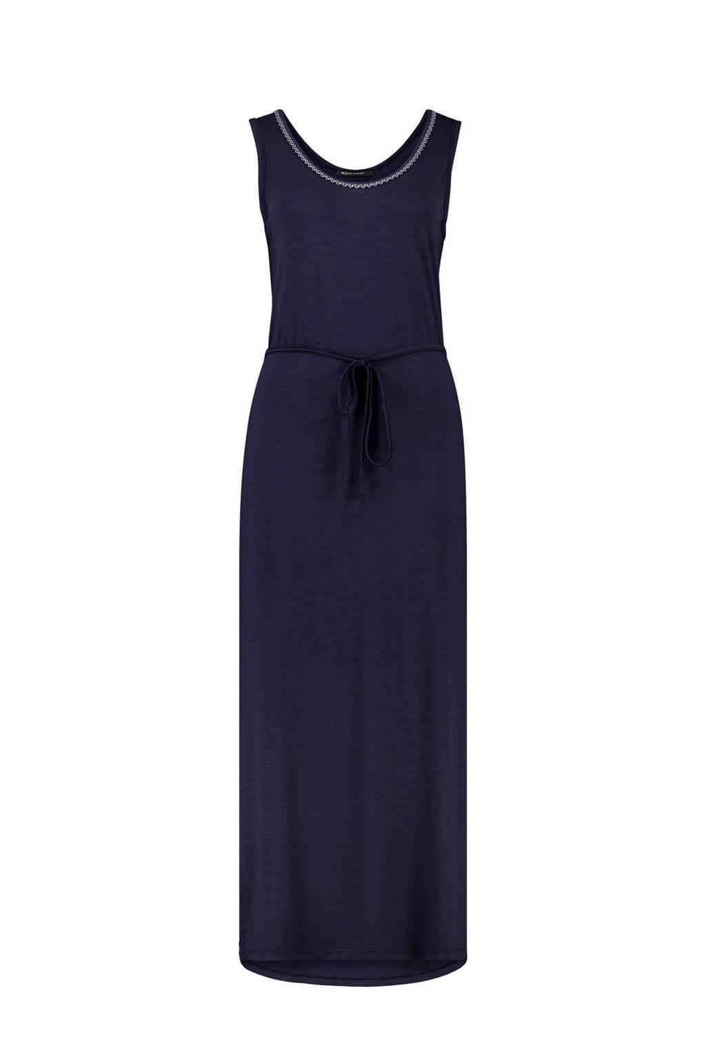 Expresso maxi jurk met contrastbies donkerblauw, Donkerblauw