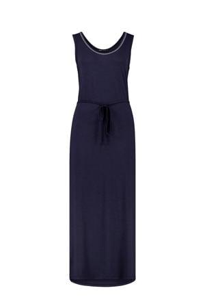 maxi jurk met contrastbies donkerblauw