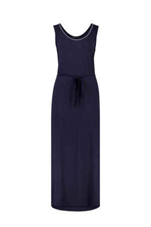 maxi jurk met contrastbies en contrastbies donkerblauw