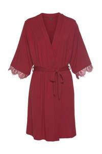 Lascana jersey kimono met kant bordeaux, Bordeaux