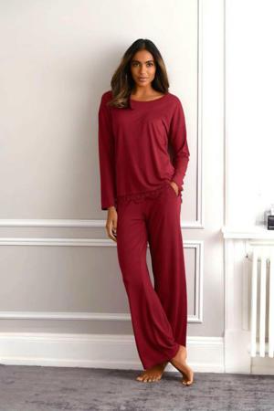 pyjamatop met kant donkerrood