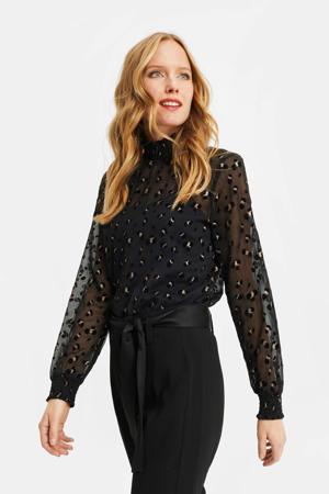 blouse met dierenprint black dessin