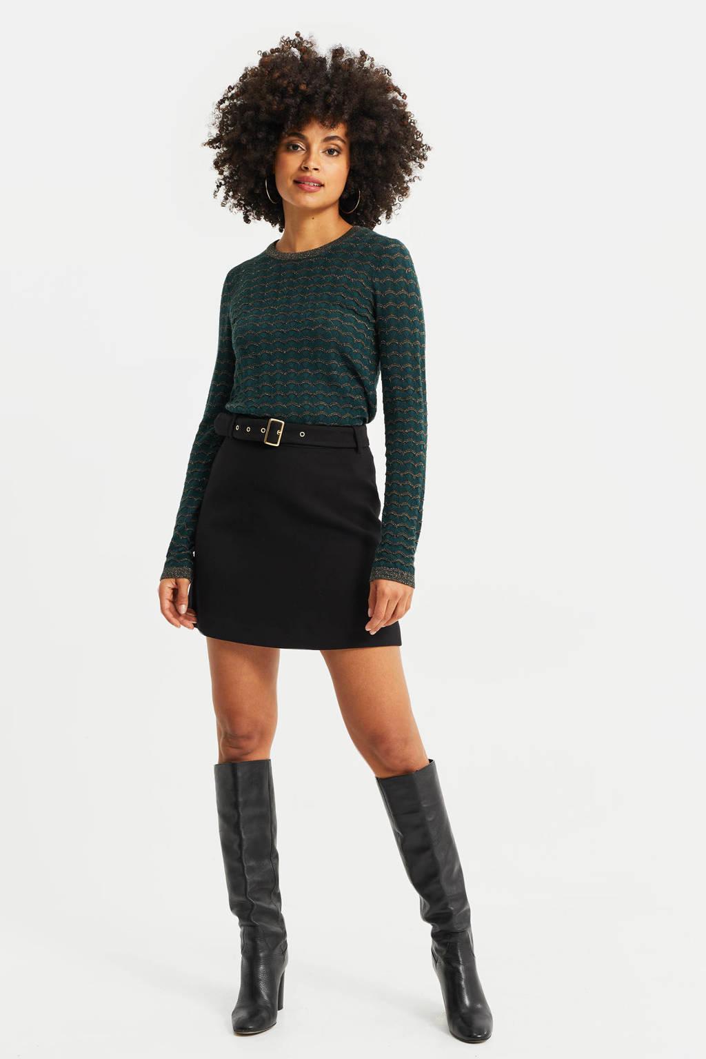 WE Fashion rok met ceintuur zwart, Zwart