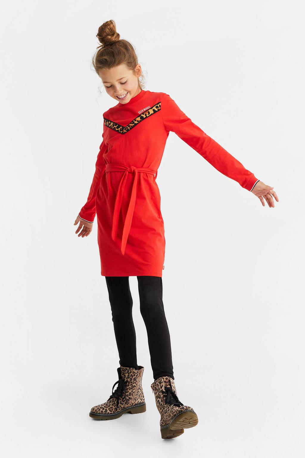 WE Fashion sweatjurk met panterprint rood, Rood