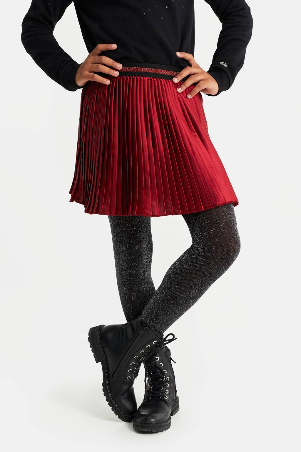 WE Fashion plissé rok met glitters donkerrood/zwart, Donkerrood/zwart