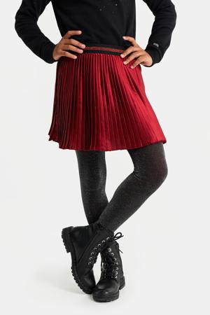 plissé rok met glitters donkerrood/zwart