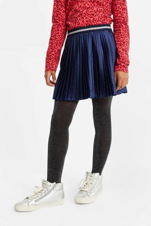 plissé rok met glitters donkerblauw/wit